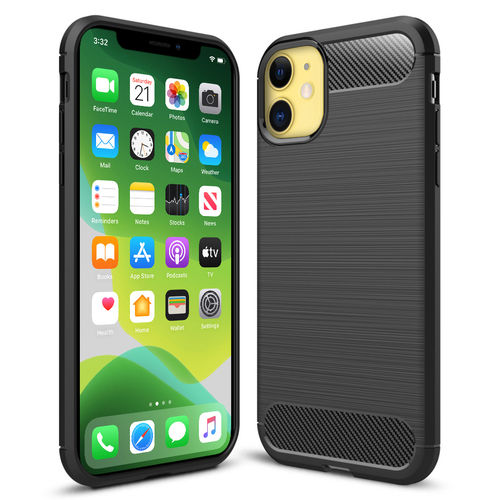 Flexi Slim Carbon Fibre Case for Apple iPhone 11 - Brushed Black